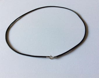 Black leather cord necklace / 925 sterling silver