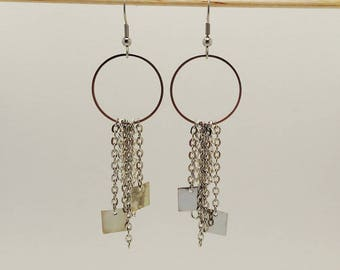 Silver metal rings, chains and charms square dangle earrings