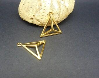 2 charms triangle 3D geometric 18 * 17mm gold-plated zamak (PPBD01)