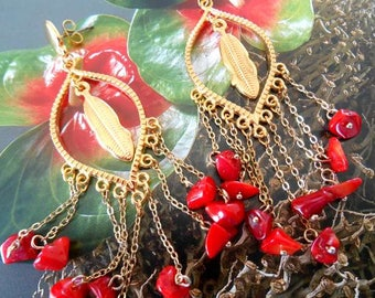 Long earrings gold and Pearl red coral chips and feather.