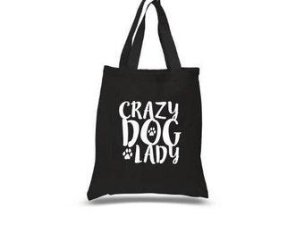 Crazy Dog Lady Tote Bag, Dog Lover tote bag, Dog tote bag, dog bag, cotton tote bag, Dog Canvas bag, dog canvas bag, Dog shoulder bag