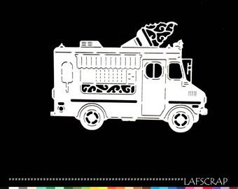 1 cut scrapbooking scrap truck vehicle embellishment Scrapbook die cut scrap holiday ice deco paper