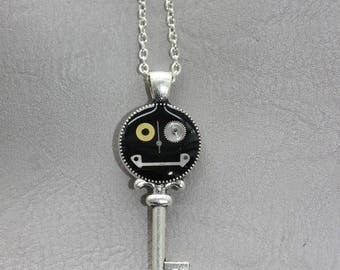 Chain 62 cm + pendant is small size steampunk watch parts and resin