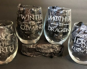 Game of Thrones gift idea, Game of Thrones glasses, set of 4 stemless wine glasses. Etched wine glass set. For men for women for her for him
