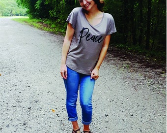 Cozy Tee, Peace, Statement T Shirt For Women