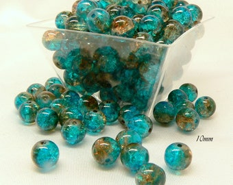 25 craquelees blue glass beads / coffee 8MM and 10mm