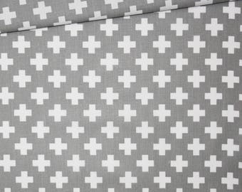 Cross, 100% cotton fabric printed 50 x 160 cm, crosses, white on grey background