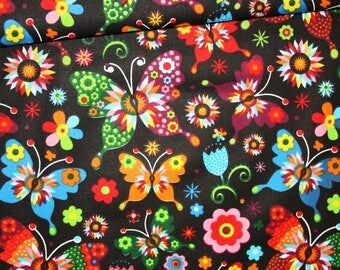 Butterflies, 100% cotton fabric printed 50 x 160 cm, butterfly colored on black background