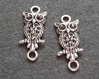 2 charms / connectors OWL silver plated metal, owl, OWL metal OWL pendant