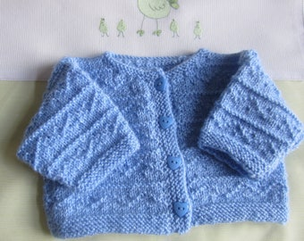 Baby Blue size newborn - hand made knitted Cardigan or jacket