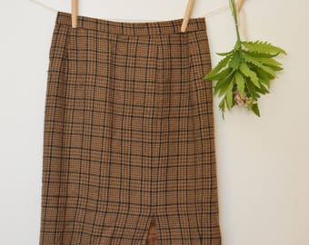 Vintage Wool Plaid Skirt