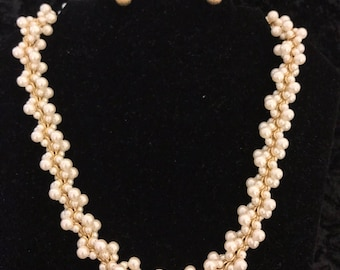 Multilayered pearl statement Necklace with gold button earrings. Pearl multilayered necklace