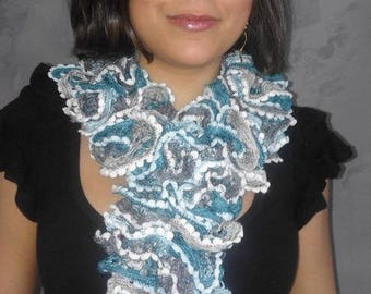 Fancy ruffle wool hand knitted scarf blue and grey for women
