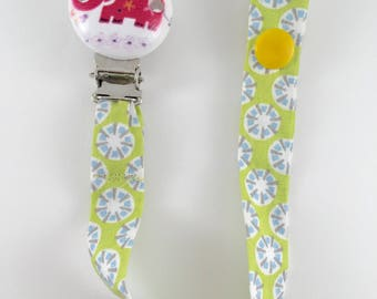 Pacifier Ribbon pink elephant fabric yellow and green clip in wood