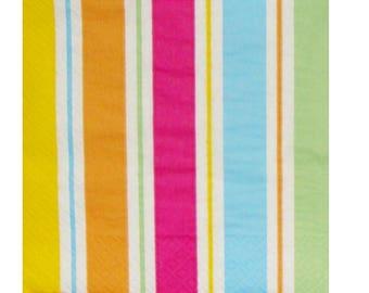 Set of 3 HOD025 brightly striped paper napkins