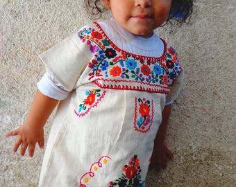 Mexican Embroidered baby dress,first birthday dress,vintage mexican dress