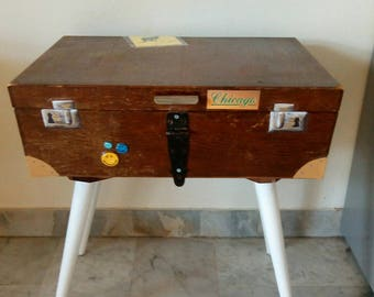 Wooden suitcase' bedside table, suitcase stand, suitcase table