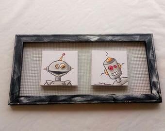Robots frame, children's frame, children's room decoration, robot decoration