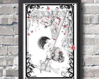 Valentine gifts,art print,pop surrealism,black and white illustration,Madeline and Antonin,kids room,home decor