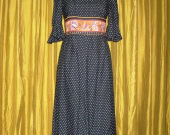1970s Vintage Dress/ Cotton Maxi Dress/ Polka Dot Romantic Dress/ Full Length/ Size S