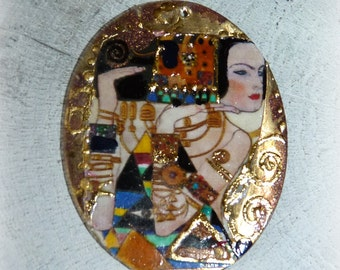 Necklace pendant Klimt-50 x 40 mm bronze charms-print art supply-painting-brass jewelry-handmade