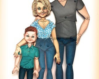 Hinged paper dolls, Family Portrait, Mom Son and Dad paper dolls, Unique original gift. SOLD