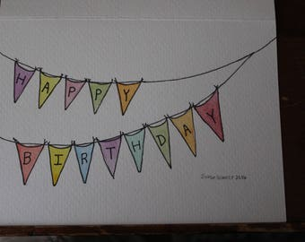 Water color happy birthday banner