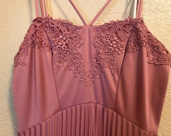Vintage 1970s Rose Pink Dress Embroidered Empire Waist Pleated Gown with Capelet