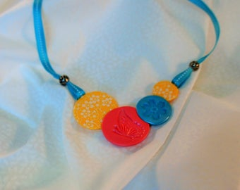 Necklace-blue yellow pink, flowers and butterfly, colorful ribbon and metal, candy, jewelry Pearl Necklace gift idea for woman