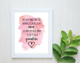 The Best Part About Having You For A Mom Is That My Kids Have You For A Grandma- Printable Grandma Gift/ Wall Decor