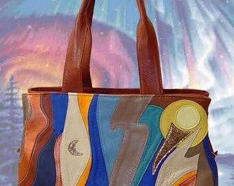 "Leather bag ""Northern Lights"" bag hand-made women's leather bag handbag for girl buy a gift Shoulder bags brown"