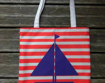 Tote bag handmade SAILBOAT