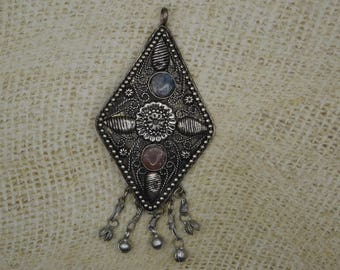 Pendant ethnic artisan Tin bells India 12 cm