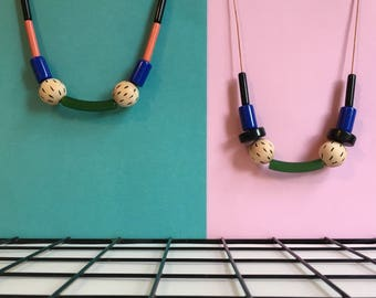 Modern color blocking geometric necklaces