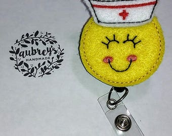 RN Smile Face with Cap Badge Reel
