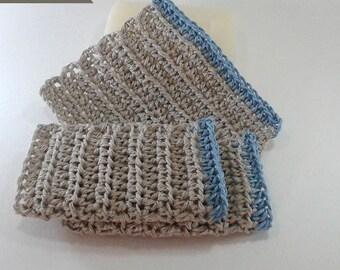 Set of 3 dishcloths tawashi 100% natural hemp 10 cm smoky blue border