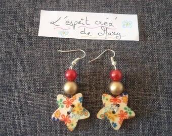 buttons star flowers earrings