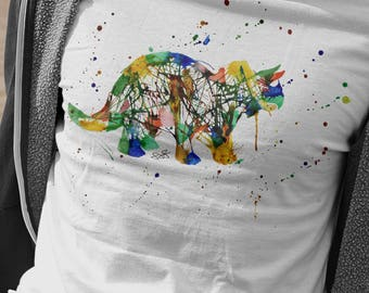 Rainbow Triceratops T-Shirt, Abstract Tricera Tshirt, Watercolour Dino Shirt, Gifts For Him, Dinosaur Lover Present, Painted Triceratops Tee