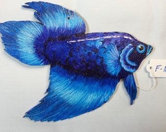 Siamese Fighting Fish ornament, Betta ornament, Siamese Fighting Fish gift, Betta gift, Novelty fish gift, Unique Betta gift, Blue Betta