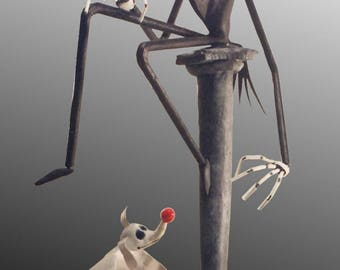 "JACK SKELLINGTON & ZERO figurine from Tim Burton's ""the nightmare before Christmas of Mr Jack"" (4 model)"