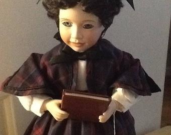 "Ashton Drake Porcelain Collectible Little Women Doll ""Jo"" COA #3380A"