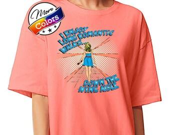 I Enjoy Long Romantic Walks Down the Wine Aisle, Funny Oversized Wine Lover's T-shirt