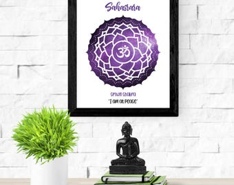 Crown Chakra Print | Seventh Chakra Symbol | Sahasrara | 7th Chakra Healing  | Chakra Wall Art | Zen Art Poster | Meditation Print | Peace