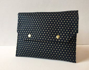 Pocket fabric flap, Blue Navy gold stars inside plastic lined Navy polka dots gold