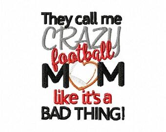 Football embroidery design, crazy football mom embroidery design, football applique mom design, mom football embroidery design