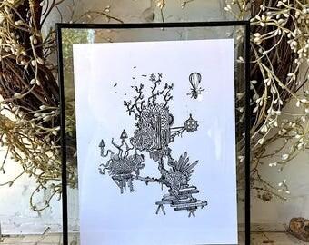 Treetop Escape - PRINT of Original Drawing