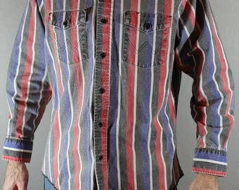 Vintage Wrangler Button Down shirt 80s western shirt striped cotton canvas