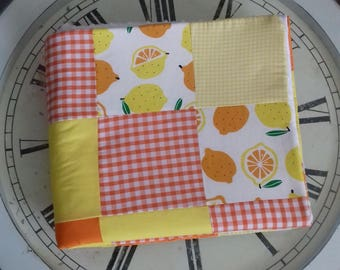 Oranges and Lemons handmade patchwork blanket