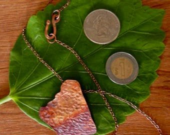 Torch patinated free-form copper pendant on copper chain
