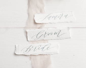 Calligraphy place cards on handmade paper - Wedding place cards - perfect for wedding table decoration- vintage place card